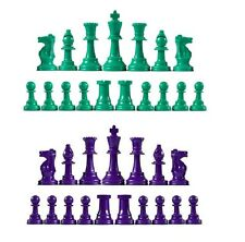 Staunton Single Weight Chess Pieces - Full Set of 34 Green & Purple - 4 Queens
