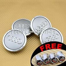 4 Silver Car Alloy Wheel Center Hub Cap Emblem Badge Logo 69mm AUDI