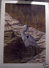 Still Waters- Blue Heron by Christine Marshall Ltd Edition ARP Lithograph #10/25