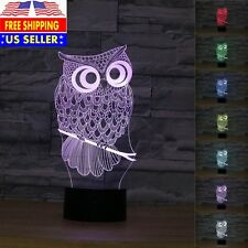 Owl 3D Optical Illusions 7 Color Change Night Light Desk Table LED Art Lamp Gift
