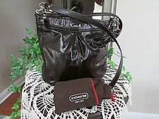 Coach Ashley Patent Leather Hippie Crossbody Bag F20462 dark brown w dust cover