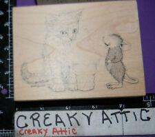 HOUSE MOUSE MICE CREAM CONE RUBBER STAMP STAMPA ROSA 457 CAT KITTEN ICE CREAM