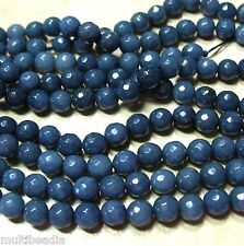 """Sapphire"" Blue Agate 8mm Faceted Round Spacer Beads 15.5"""
