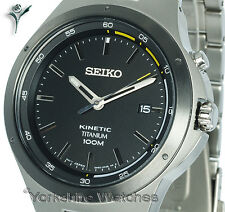 New SEIKO KINETIC TITANIUM COAL BLACK FACE With BLAST TITANIUM BRACELET SKA715P1