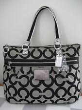 COACH #15331 Poppy Op Art Glam Black Signature Shoulder Tote Shopper