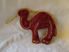 RED AND GOLD CAMEL SHAPED WALL HANGING HANDMADE INDIA, IDEAL CHRISTMAS DECOR