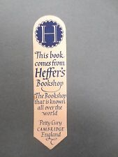 BOOKMARK Vintage Heffers  Bookshop Petty Cury Cambridge OLD Pink / Blue