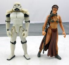Star Wars 1997 Kenner Slave Leia W/ Chain & Space Trooper Loose Action Figures