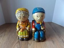 Cute Vintage Pair Coin Penny Savings Banks Old Man & Old Woman in Rocking Chairs