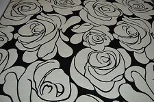 black white floral soft chenille upholstery fabric LIMITED STOCK