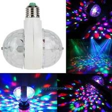 6W E27 RGB Dual Crystal Ball Rotating LED Stage Light Bulbs DJ Disco Party Lamp