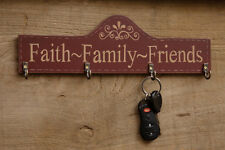 Country Primitive Rustic Wooden Faith Family Friends Barn Red Key Hanger Painted