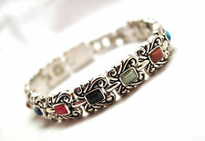 LADIES 7 3/8 IN. MAGNETIC THERAPY SILVER BRACELET: Semi-Precious Stones; 4 Pain