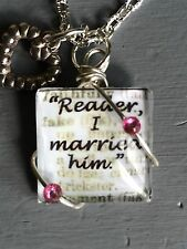 Handmade Book Quote Necklace, From Jane Eyre, Wedding Gift,The Craftiest Fox Co.