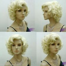 Marilyn Monroe Cospaly Short Curly Wavy Full Blonde Wigs Hair Fashion Party Club