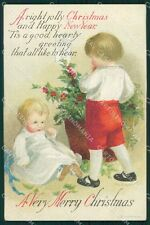 Little Boy Christmas Greetings Clapsaddle Relief postcard cartolina QT5912