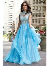 Jovani Sexy Aqua Chiffon Sleeveless Prom Evening Party Dress Sz 14 NWT