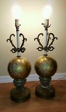 Vintage 3 WAY  Victorian Brass GLASS gold Porcelain Table Lamp Pair