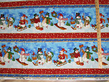Winter Magic Snowman Stripe Christmas Northcott Fabric by the 1/2 Yard  #21069