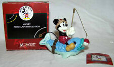 DISNEY'S MICKEY MOUSE ON FISH PHB/PORCELAIN HINGED BOX-MIDWEST OF CANNON FALLS