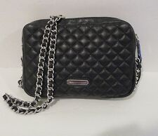 REBECCA MINKOFF Flirty Black Quilted Leather Crossbody Chain Handbag   NEW