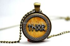 Glass Dome Cabochon Pendant Chain NECKLACE Gothic/ Steampunk : Viking Rune Thor