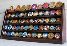 5 Rows Coin display Stand Holder Rack Mahogany Finish