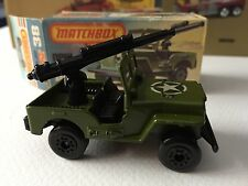 MATCHBOX SUPERFAST #38 ARMORED MILITARY U.S. ARMY JEEP, NICE, BOXED