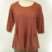 NEW NWOT Logo by Lori Goldstein Plus Size Trim Back Button Down Blouse Brown 1X