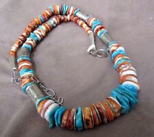 Navajo Heavy Spiny Oyster & turquoise Necklace w/ silver beads and clasp JN0048