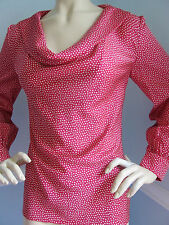 NEW ST JOHN KNIT 12 WOMENS TOP  BLOUSE  SILK DARK PINK COSMO MICRO DOTS