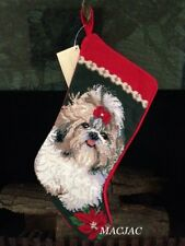 Shih Tzu Dog Needlepoint Christmas Stocking NWT
