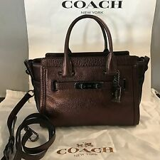 NWT  COACH 34816 Swagger 27 Satchel Leather Dark Bronze