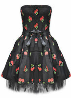 Dead Threads Cherry Dice Goth Emo Prom Party Black Mini Dress Small UK 8