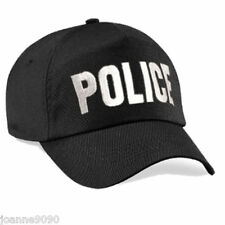 *Adult Mens Black Embroidered Police Baseball Cap Swar Fancy Dress Costume Hat*