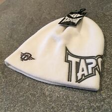 TapouT Men's White Pulldown Beanie Hat BNWT Osfa m l Boarding Skiing MMA UFC BJJ