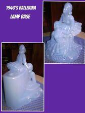 L.E. Smith 1940's Depression Lite Pearl Blue Glass Ballerina Table Top Lamp Base