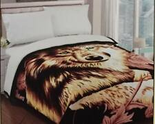 Hot Japane Blanket Thick Mink Reversible Brown Beige King size Wolf Face Design