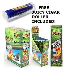 "BOX 25 PKS - JUICY Flavored HEMP WRAPS - ""TROPICAL PASSION"" + FREE CIGAR ROLLER"