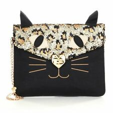 Betsey Johnson KITSCH KITTY CAT Shoulder or CLUTCH BJ53975 Sequins!  Feline MEOW