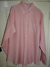 BROOKS BROTHERS (Slim Fit) NON IRON SUPIMA COTTON PINK WORK SHIRT UK 17.5 EU 44