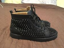Christian Louboutin Black Spiked High-Top Sneakers Size 41 Size 8
