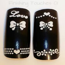 Wedding Nail Art Sticker- 3D White Bow Decal #160 XF185 Love Heart Transfer