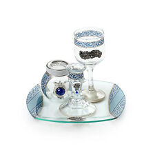 Judaica Glass Havdalah Set Artistically Designed Hand Painted Silver and Blue