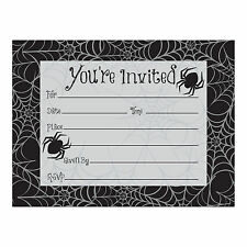 8 x HALLOWEEN Invites Invitations Spiders & Spider Web Design FREE P&P