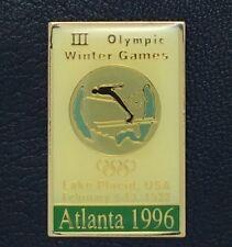 Olympic Pin Badge~Poster Pin~Lake Placid, USA 1932~1996 Atlanta~NEW on CARD