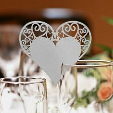 HEART SHAPED WINE GLASS WEDDING LABEL NAME PLACE CARDS TABLE PEARLESCENT