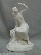 Antique 19th Century Bisque Parian Ware Half Nude Maiden w/ Snake Sculpture