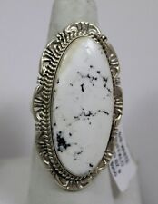 Navajo Indian Ring White Buffalo Turquoise Size 9 Sterling Silver Robert Shakey