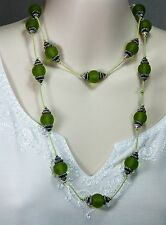 Green Resin Necklace Rope Length NEW CRR12 Green & Silver NEW Hand Made